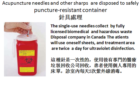 Acupuncture needles and other sharps are disposed to safely puncture-resistant container